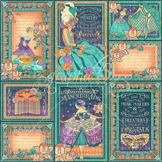 "Midnight Masquerade Journaling & Ephemera Cards-(16) 4""X6"" & (16) 3""X4"""