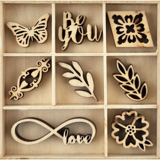 Themed Mini Wooden Flourishes 40/Pkg-Be You