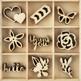 Themed Mini Wooden Flourishes 45/Pkg-Bloom