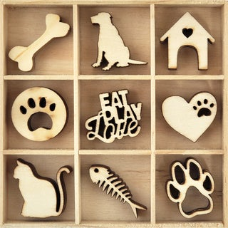 Themed Mini Wooden Flourishes 45/Pkg-Pets