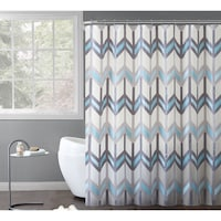 VCNY Home Chevron Printed Reyna PEVA Shower Curtain 14 Piece Bath Set