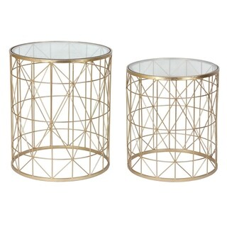 Three Hands Set Of Two Metal Side Table With Mirror Top