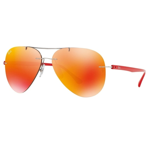 423a998911 Shop Ray-Ban RB8058 159 6Q Men s Rimless Rimless Orange Mirror Lens ...