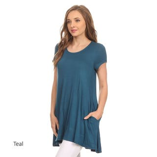 Women's Short Sleeve Solid Tunic|https://ak1.ostkcdn.com/images/products/15288077/P21756731.jpg?impolicy=medium