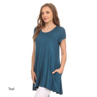 Women's Short Sleeve Solid Tunic