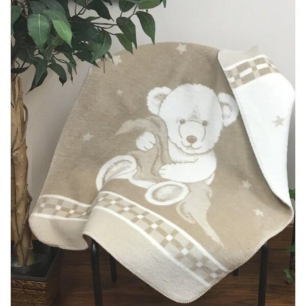 IBENA Pure Cotton Teddy Bear Baby Blanket