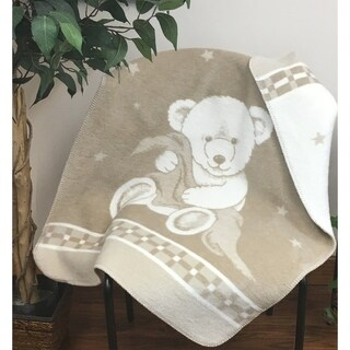 IBENA Pure Cotton Teddy Bear Baby Blanket