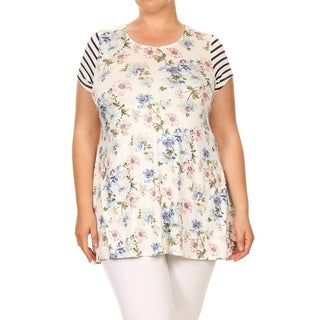 Women's Plus Size Floral Stripe Tunic