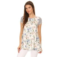Women's Floral and Striped Sleeve Tunic