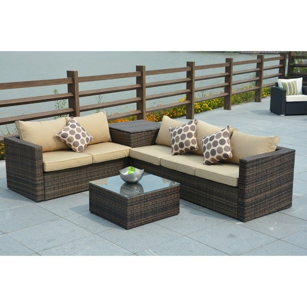 Shop Jasmine 4 Piece Outdoor Wicker Sectional Sofa With Storage Box