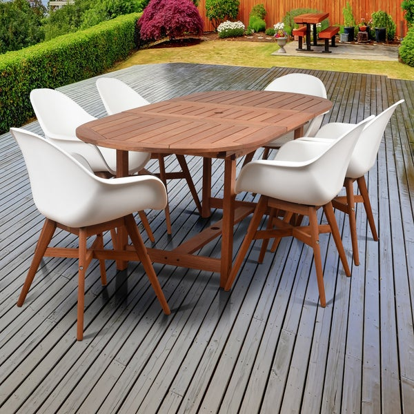 White Wood Dining Set: Shop Amazonia Deluxe Hawaii White Wood/Resin 7-Piece Patio