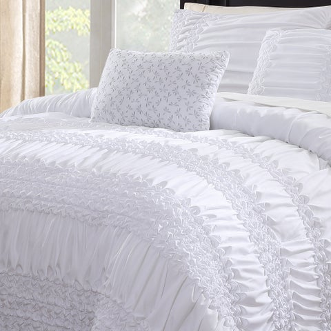 White Birch Melinda Ruffled 5 Piece Comforter Set