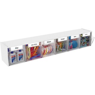 "Interlocking Craft Storage Tilt Organizer 6 Bins-23.6""X4.5""X3.6"" White"