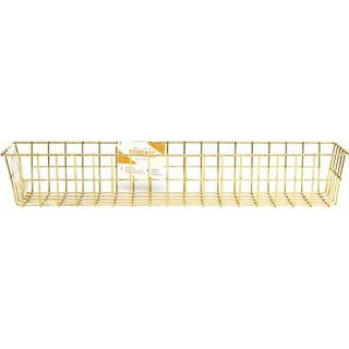 Wire System Metal Storage Bin-Medium Gold