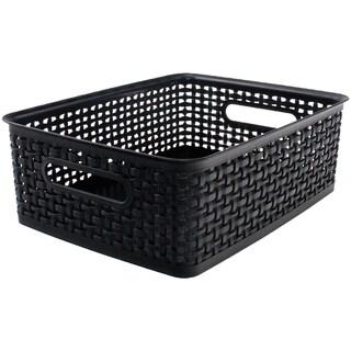 """Weave Design Plastic Bin Medium-Black, 13.75""""L X 10.5""""W X 4.625""""H"""