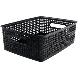 "Weave Design Plastic Bin Medium-Black, 13.75""L X 10.5""W X 4.625""H"