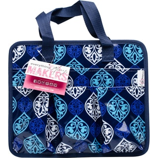 """Everything Mary Makers Carry-All Tote 9.75""""X11.75""""X6""""-Blue Quatrefoil Print W/Navy Trim"""