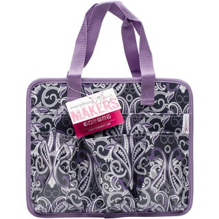"Everything Mary Makers Carry-All Tote 9.75""X11.75""X6""-Gray & Purple Paisley W/Purple Trim"