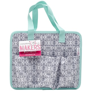 """Everything Mary Makers Carry-All Tote 9.75""""X11.75""""X6""""-Gray & White Print W/Mint Trim"""