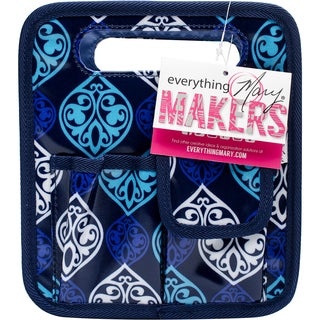 "Everything Mary Makers Desktop Tote 8.75""X7.75""X5""-Blue Quatrefoil Print W/Navy Trim"