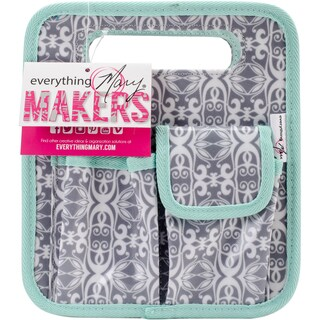 "Everything Mary Makers Desktop Tote 8.75""X7.75""X5""-Gray & White Print W/Mint Trim"