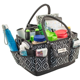 "Everything Mary Deluxe Store & Tote Organizer 13.5""X10""X8""-Black & White Peacock Print W/Black Trim"