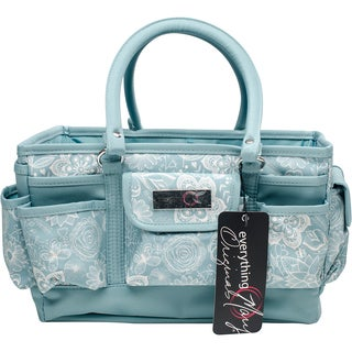 "Everything Mary Deluxe Store & Tote Organizer 13.5""X10""X8""-Aqua & White Floral W/Aqua Trim"
