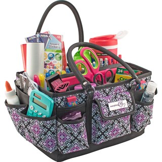 """Everything Mary Deluxe Store & Tote Organizer 13.5""""X10""""X8""""-Black & Purple Damask W/Black Trim"""