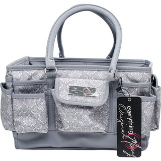 """Everything Mary Deluxe Store & Tote Organizer 13.5""""X10""""X8""""-Gray & White Damask W/Gray Trim"""