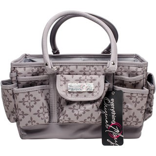 """Everything Mary Deluxe Store & Tote Organizer 13.5""""X10""""X8""""-Greige Fleur De Lis W/Greige Trim"""