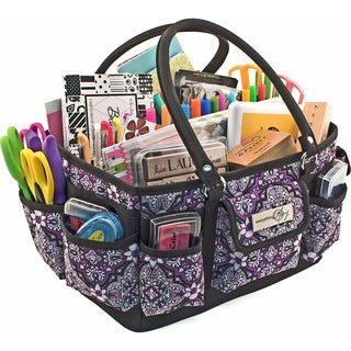 "Everything Mary Deluxe Store & Tote Organizer 13.5""X10""X8""-Grape & Gray Print W/Black Trim"