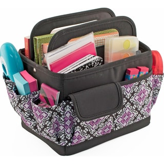 Everything Mary Desktop Caddy Organizer-Black & Purple Damask W/Black Trim