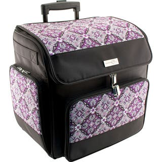 Everything Mary Rolling Papercraft Tote-Grape & Gray Print W/Black Trim|https://ak1.ostkcdn.com/images/products/15288764/P21757134.jpg?impolicy=medium