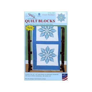 "Jack Dempsey Quilt Blocks 18"" Floral Pinwheel 6pc"