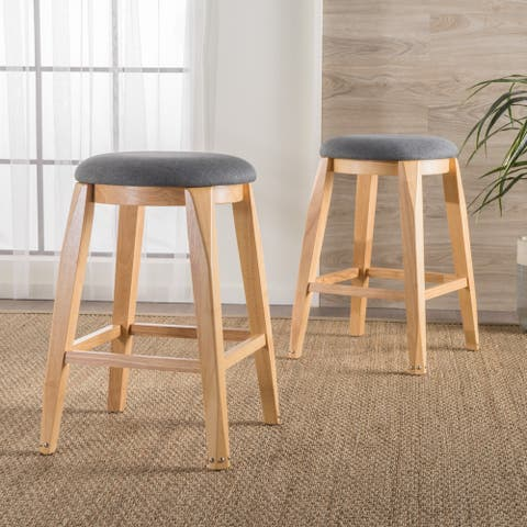 Maren Backless 26-inch Studded Fabric Barstool (Set of 2) by Christopher Knight Home