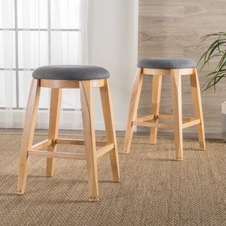 Maren Backless Studded Fabric Barstool (Set of 2) by Christopher Knight Home