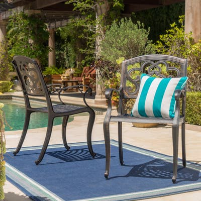 Austin Outdoor Cast Aluminum Dining Chair (Set of 2) by Christopher Knight Home