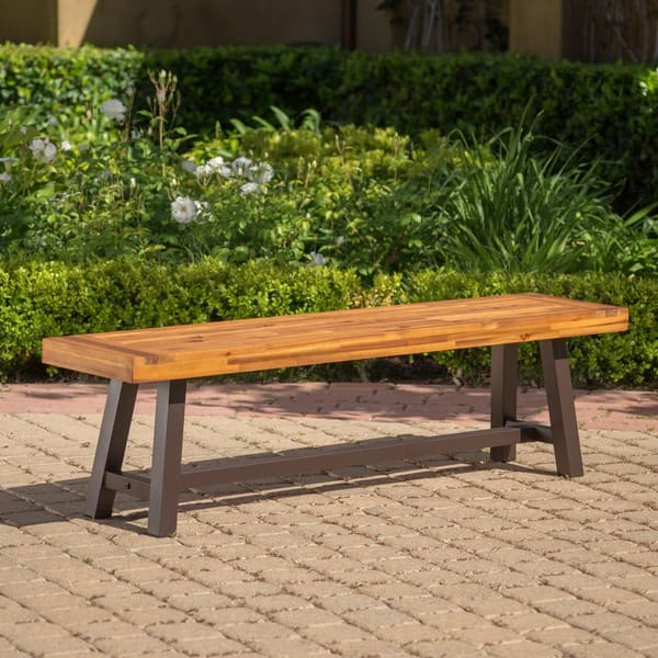 Enjoyable Shop Carlisle Outdoor Rustic Acacia Wood Bench Only By Theyellowbook Wood Chair Design Ideas Theyellowbookinfo