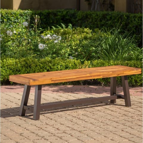 Carlisle Outdoor Rustic Acacia Wood Bench Only By Christopher Knight Home
