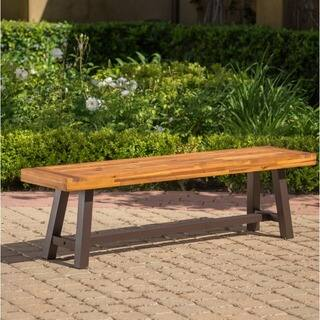 carlisle outdoor rustic acacia wood bench only by christopher knight home - Outdoor Benches