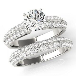Scintilenora Vintage Inspired MultiRow Diamond Bridal Wedding Set 18k Gold 1 3/4 TDW