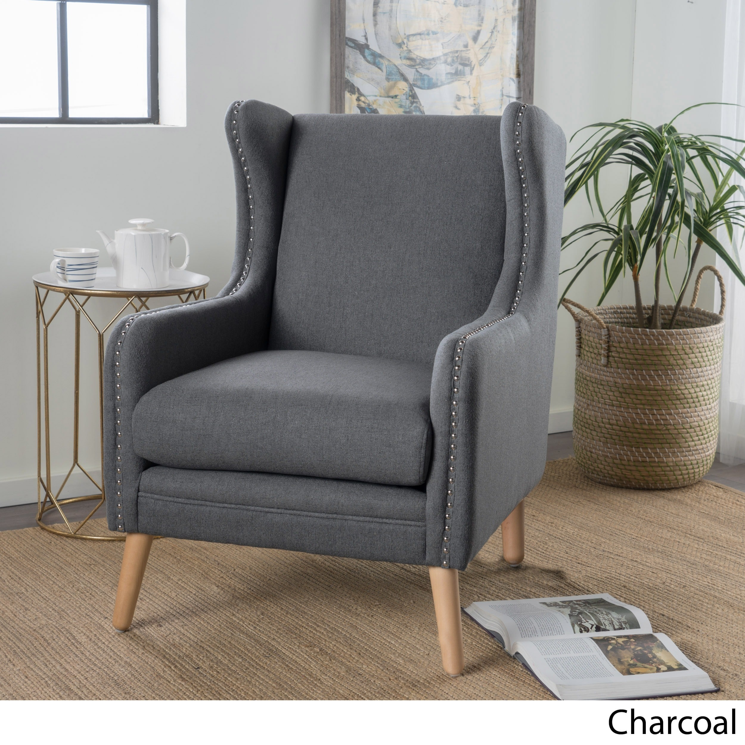 Adeline Studded Fabric Club Chair By Christopher Knight