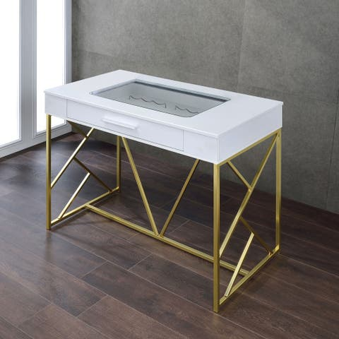 Furniture of America Hone Contemporary Metal Counter Wine Table