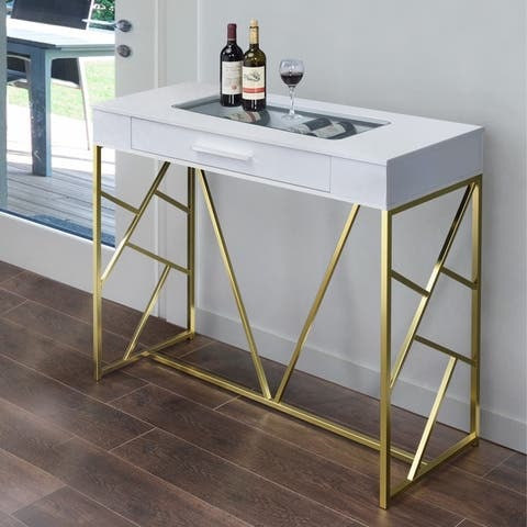 Furniture of America Hone Contemporary Metal 1-drawer Bar Wine Table