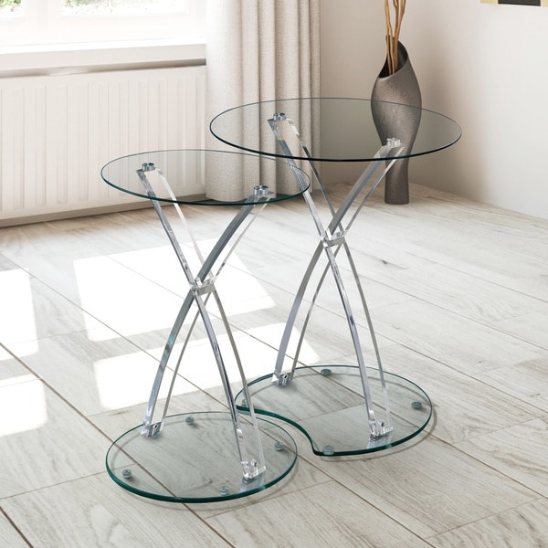 Furniture Of America Luna Contemporary Clear Glass Acrylic 2 Piece Nesting  Table