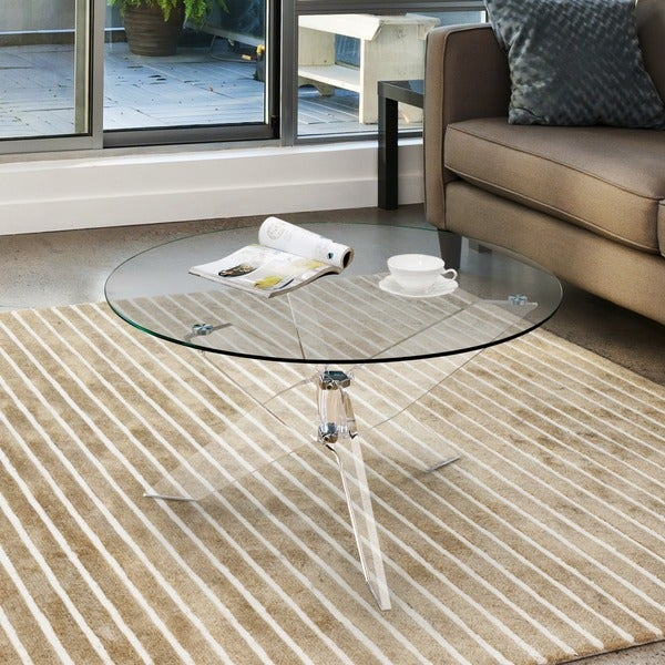 Furniture Of America Leras Contemporary Clear Acrylic Glass Top Round  Coffee Table
