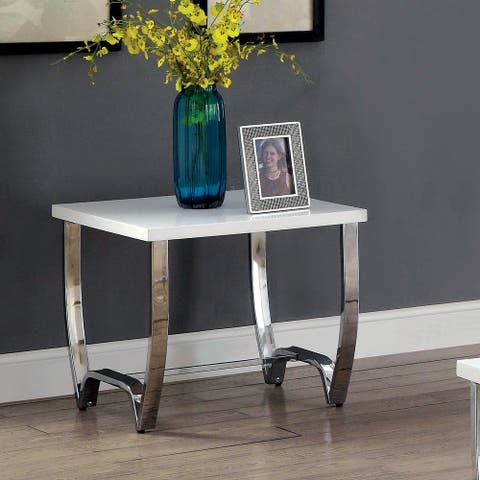 Furniture of America Favy Contemporary White Metal Square End Table