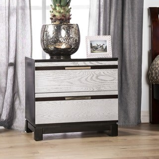 Furniture of America Neolin Contemporary Two-Tone Silver and Espresso 2-Drawer Nightstand