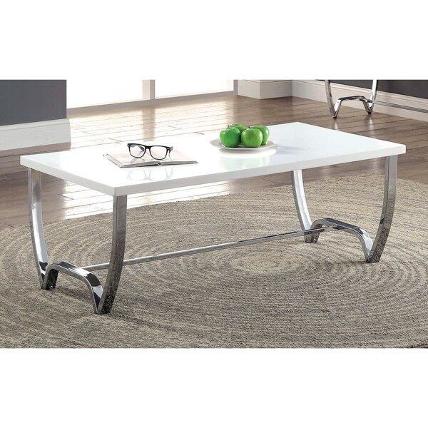 Shop Lenar Contemporary White Curvy Coffee Table By FOA