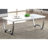 Furniture of America Lenar Contemporary White Curvy Metal Base Coffee Table